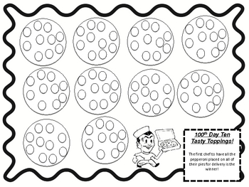 100th day pizza math dice game