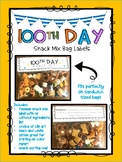 100th day snack mix label