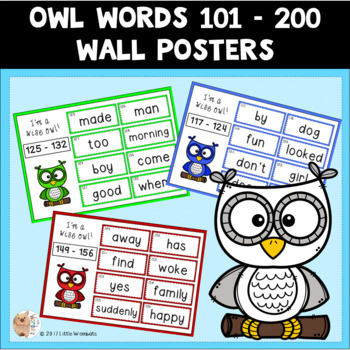 101 - 200 OWL Wall Posters / Sight Words / High Frequency Words