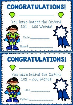 101 - 200 Oxford Sight Words / High Frequency
