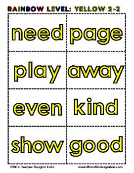 101-200 SIGHT WORD FLASH CARDS - RAINBOW LEVELS