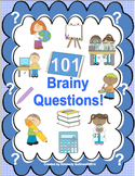 100th day of school  Review 101 Brainy Questions  Early Finishers Printables