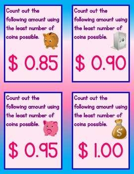 101 Counting Money Practice Cards for Counting Amounts From $0.05 to $5.00