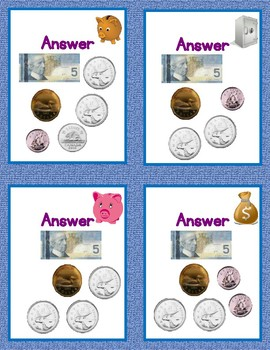 101 Counting Money Practice Cards for Counting Amounts From $5.00 to $10.00