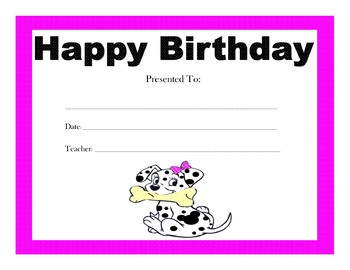 101 Dalmatians Birthday Certificates (Includes 4 Certificates)