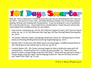 101 Days of School Activity Pack; Dalmatians & More