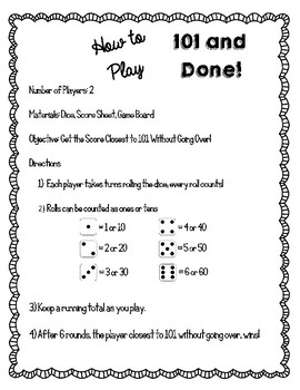 101 & Done Addition Strategy Game