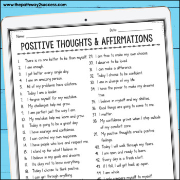 Positive Thinking Affirmations - Distance Learning and Google Classroom