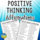 Positive Thinking Affirmations & Self-Talk - SEL Activity