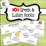 101 Greek and Latin Root Word Wall Cards