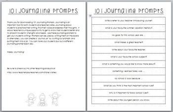 101 Journal Prompts for Primary Students