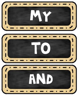 101 Kindergarten Sight Words for word walls (burlap and chalk theme) ONLY $1.00