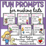 Making LISTS: 101 Prompts for Bellringers, Substitutes, Fluency