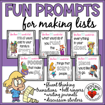 making lists 101 prompts for bellringers substitutes fluency