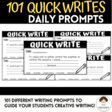 101 Quick Writes Daily Writing Prompts **Google Slides**