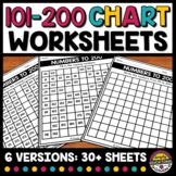 101 TO 200 CHART WORKSHEETS BLANK & FILL IN THE MISSING NU