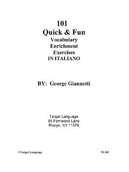 101 Vocabulary Enrichment Exercises in Italiano