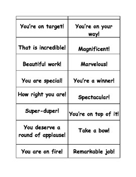 101 Words and Phrases to Motivate your Students