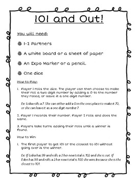 101 and Out! Second Grade Math Center Resource.