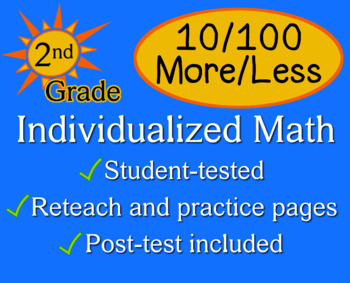 10/100 More/Less, 2nd grade - worksheets - Individualized Math