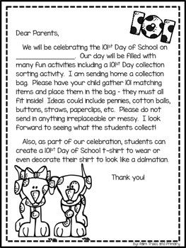 101st Day of School // Celebration Activities for K-2 // Dalmatian Theme