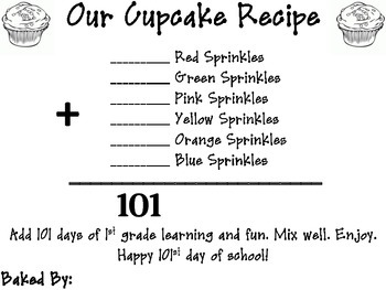 101st Day of School - Cupcake Recipe Activity