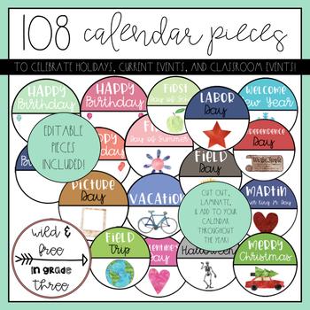 108 Calendar Circles for Holidays & Noteworthy Days (with 12 Editable Circles)