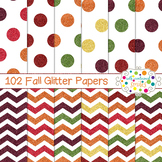 102 Chevron and Polka Dot Glitter Papers- Fall Colors