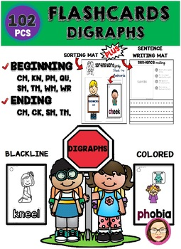 102 PIECES BEGINNING and ENDING DIGRAPHS FLASHCARDS *50 OFF 48 HOURS*