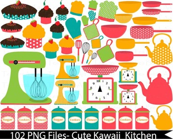 102 PNG Files- Retro Kitchen 2 -Digital Clip Art 136