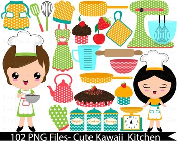102 PNG Files- Retro Kitchen 2 -Digital Clip Art 136