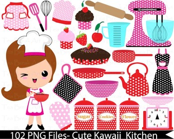 102 PNG Files- Retro Kitchen1-Digital Clip Art  135