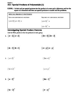 10.3 Special Products of Polynomials (1)