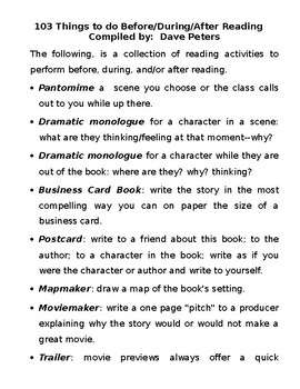 103 Things to do Before, During, and After Reading