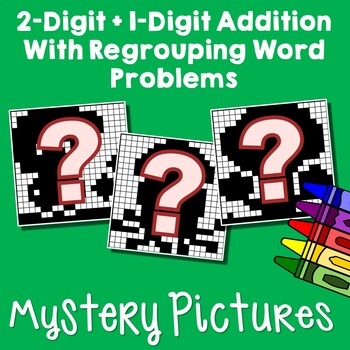 2-Digit By 1-Digit Addition Word Problems With Regrouping Worksheets & Coloring