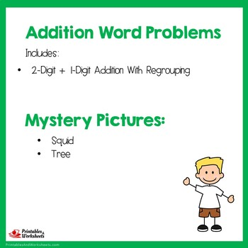 Adding 1 Digit To 2 Digit Numbers, Addition Regrouping Worksheets Word Problems