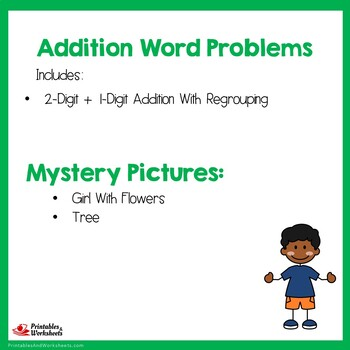 Adding Two Digit And One Digit Numbers With Regrouping Story Problems Worksheets