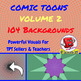 104 BACKGROUNDS BY COMIC TOONS VOLUME 2 for TPT Sellers / Creators / Teachers