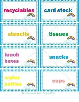 104 Rainbow Classroom Supplies Labels {Editable}