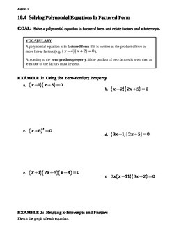 10.4 Solving Polynomial Equations in Factored Form