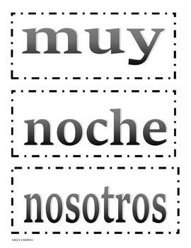 104 Spanish Sight Word Flash Cards
