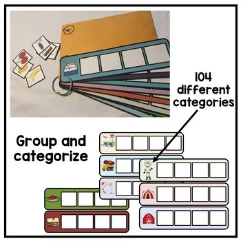 104 visual 'sort by category' cards. Autism. Speech. File folder activity