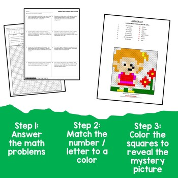 Adding A One Digit Number To A Two Digit Number Word Problems Coloring Sheets