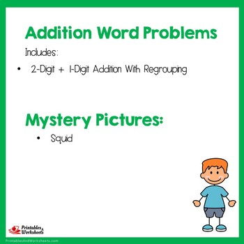 Adding Two Digit Number To One Digit Word Problems Mystery Picture Coloring Page