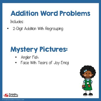 Double Digit Addition Word Problems With Regrouping Task Cards, Worksheets