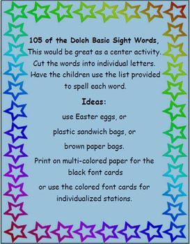 105 Dolch Basic Sight Word Vocabulary