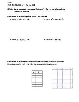10.5 Factoring x^2 + bx + c