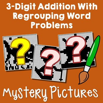 3-Digit Addition Regrouping Word Problems Enrichment, Add 3 Digit Numbers Color