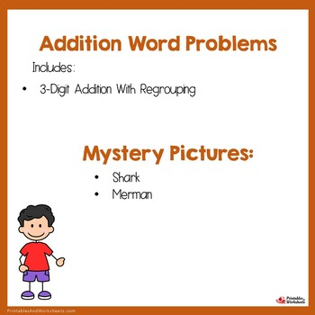 Problem Solving 3 Digit Addition Word Problems With Regrouping, Add & Color Math