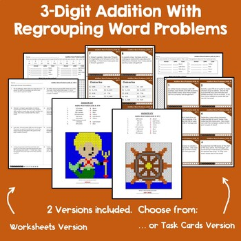 Coloring And Adding 3 Digits, Addition With Regrouping Word Problem Task Cards